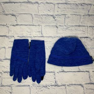 Lands' End Blue Hat & Glove Set